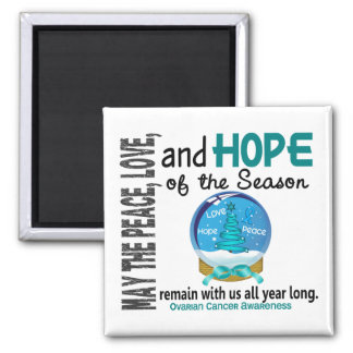 Christmas Holiday Snow Globe 1 Ovarian Cancer 2 Inch Square Magnet