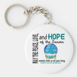 Christmas Holiday Snow Globe 1 Ovarian Cancer Basic Round Button Keychain