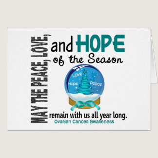 Christmas Holiday Snow Globe 1 Ovarian Cancer Card