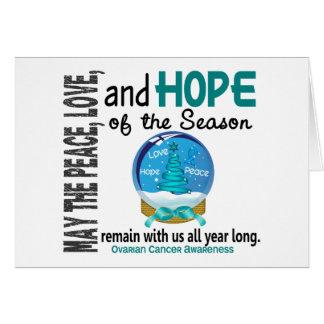 Christmas Holiday Snow Globe 1 Ovarian Cancer Greeting Card
