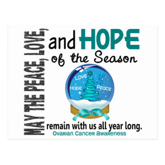 Christmas Holiday Snow Globe 1 Ovarian Cancer Postcard