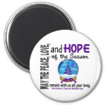 Christmas Holiday Snow Globe 1 Pancreatic Cancer 2 Inch Round Magnet