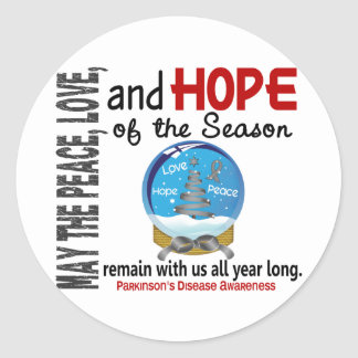Christmas Holiday Snow Globe 1 Parkinson's Disease Classic Round Sticker