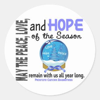 Christmas Holiday Snow Globe 1 Prostate Cancer Round Sticker