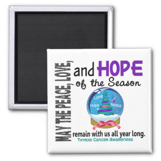Christmas Holiday Snow Globe 1 Thyroid Cancer 2 Inch Square Magnet
