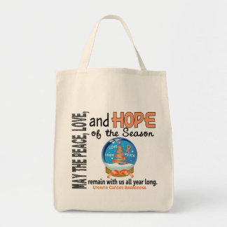 Christmas Holiday Snow Globe 1 Uterine Cancer Tote Bags