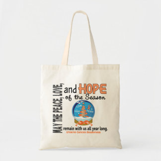 Christmas Holiday Snow Globe 1 Uterine Cancer Canvas Bags