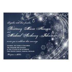 Christmas Holiday Snowflakes Blue Wedding Invites 4.5