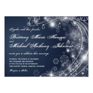 Christmas Holiday Snowflakes Blue Wedding Invites