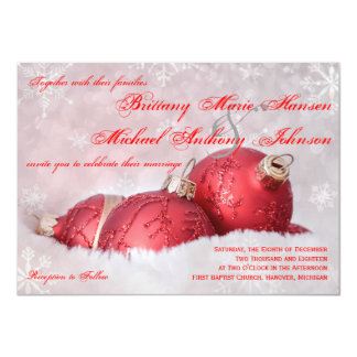 Christmas Holiday Snowflakes Red Wedding Invites