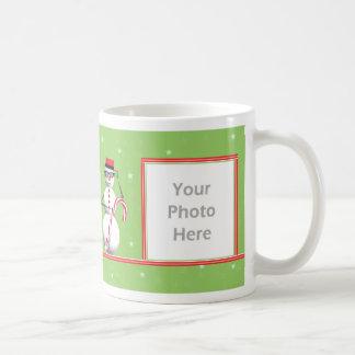 Christmas Holiday Snowman 2-Photo Frame Coffee Mug