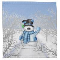 Christmas Holiday Snowman cartoon napkin