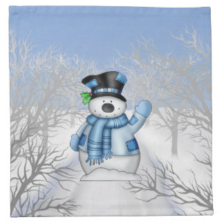Christmas Holiday Snowman cartoon napkin