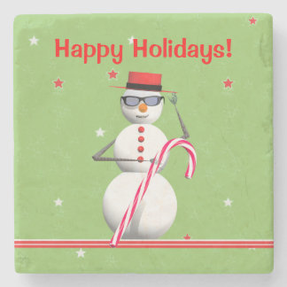 Christmas Holiday Snowman Stone Coaster