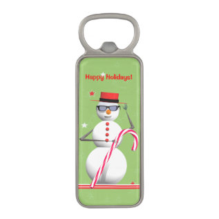 Christmas Holiday Snowman Magnetic Bottle Opener at Zazzle