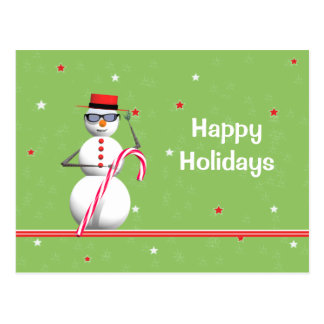 Christmas Holiday Snowman Postcard