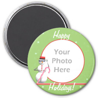 Christmas Holiday Snowman (round) (photo frame) Magnet