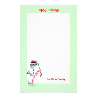 Christmas Holiday Snowman Stationery