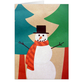 Christmas Holiday Snowman & Trees Card
