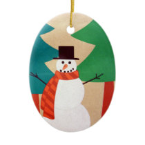 Christmas Holiday Snowman & Trees Ceramic Ornament