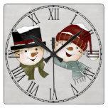 Christmas Holiday Snowmen Square Wall Clock