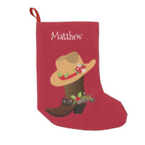 Christmas Holiday Southwestern Cowboy Boot Small Christmas Stocking