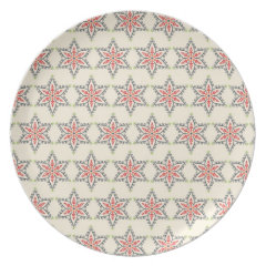 Christmas Holiday Stars Patterns for Xmas Dinner Plate