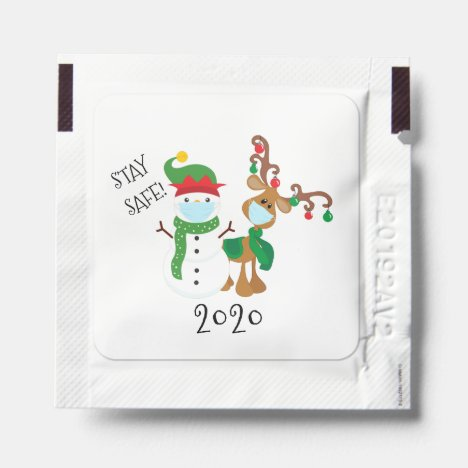 Christmas Holiday Stay Safe Reindeer Snowman Hand Sanitizer Packet