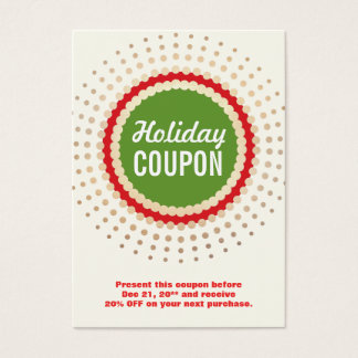 Christmas / Holiday Store Coupon Promotional Business Card
