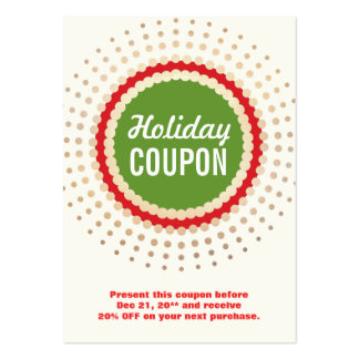 Christmas / Holiday Store Coupon Promotional Large Business Card