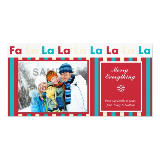 Christmas Holiday Stripe Photo Card  - Fa La La