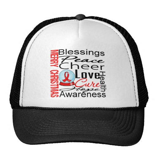 Christmas Holiday Stroke Ribbon Collage Trucker Hat