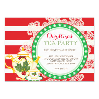 Christmas Holiday Tea Party Invitation at Zazzle