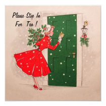 Christmas Holiday Tea Party Invitation. Card