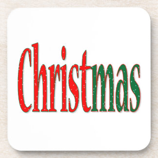Christmas Holiday Text Beverage Coaster