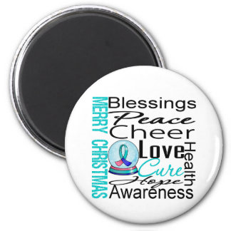 Christmas Holiday Thyroid Cancer Collage 2 Inch Round Magnet