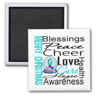 Christmas Holiday Thyroid Cancer Collage 2 Inch Square Magnet