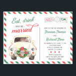 """Christmas Holiday Travel Red Wedding Invitation Postcard<br><div class=""""desc"""">Customizable Christmas wedding invitation postcard in red and green. Please note that the invite can be used as an actual postcard and doesn"""