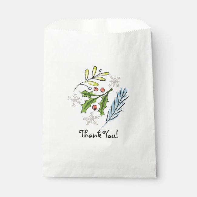 Christmas Holiday Treat Favor Thank You Bag Holly