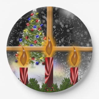 Christmas Holiday Tree Candles Decorated Window Paper Plate