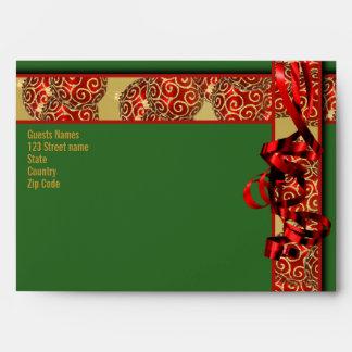 Christmas holiday tree decorations ribbons gold envelope