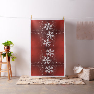 Christmas Holiday Tree Stars Snowflakes Fabric