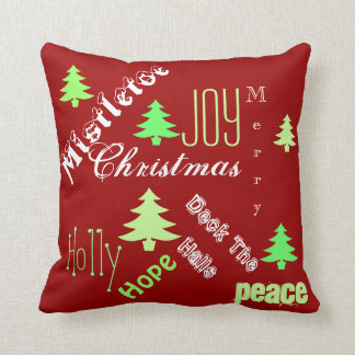 Christmas holiday tree wishes throw pillow