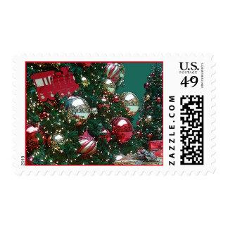 Christmas Holiday Trim The Tree Retro Vintage Stamp