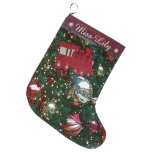 Christmas Holiday Trim The Tree Toy Train Stocking