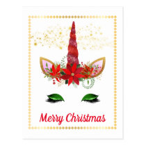 Christmas holiday Unicorn add message postcard
