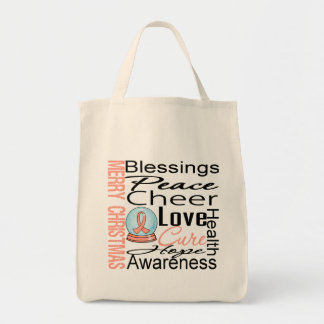 Christmas Holiday Uterine Cancer Ribbon Snowglobe Bag