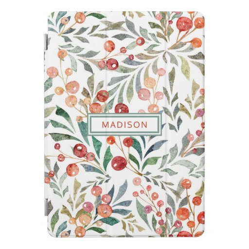 Christmas Holiday Watercolor Floral Personalized iPad Pro Cover