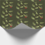 """Christmas Holiday Watercolor Vintage Holly Branch Wrapping Paper<br><div class=""""desc"""">Hand-painted watercolor holly leaves and bright red berries on pine green background.</div>"""