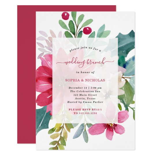 Christmas Holiday Wedding Brunch Bright Floral Invitation